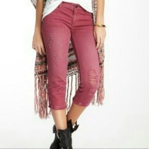 Free People Mauve Cropped Distressed Jeans Size 30